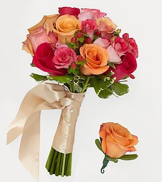Bright Blush Bridesmaid Bouquet & Groomsman Boutonniere