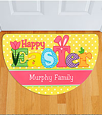 Personalized Bright Happy Easter Doormat