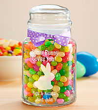 Personalized Etched Easter Candy Jar with Jelly Beans