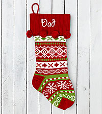 Personal Creations® Red Knit Argyle Design Stocking
