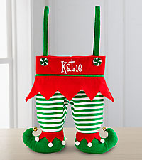 Personal Creations® Jingle Bell Elf Pants Stocking - Green and White