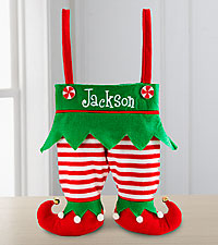 Personal Creations® Jingle Bell Elf Pants Stocking - Red and White