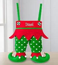 Personal Creations®Jingle Bell Elf Pants Stocking - Green Polka Dots