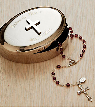 Personal Creations® Silver Keepsake Box with Cross