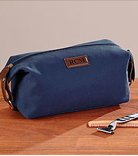 Personal Creations® Canvas & Leather Toiletry Bag