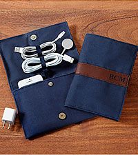Personal Creations® Canvas & Leather Travel Cord Case