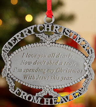Personal Creations® Merry Christmas From Heaven Ornament - Pewter