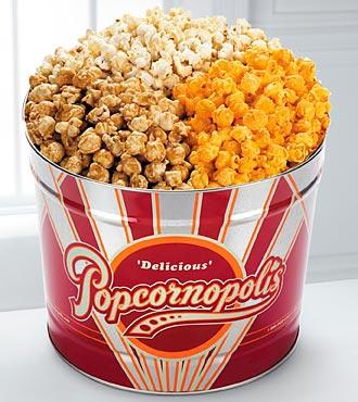 Popcornopolis Gourmet 3-Flavor Popcorn Tin