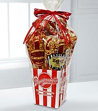 Popcornopolis Gourmet Popcorn 4-Cone Gift Basket