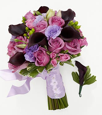 Lovely Lavender Bride Bouquet & Groom Boutonniere