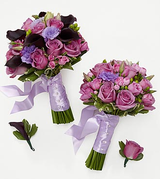 Lovely Lavender Bride & Maid of Honor Bouquets with Groom & Best Man Boutonniere
