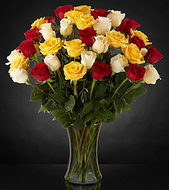 Joyful Luxury Rose Bouquet - 36 Stems of Roses VASE INCLUDED