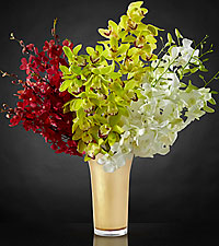 Good as Gold Luxury Orchid Bouquet - VASE INCLUDED