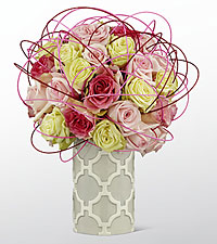 The FTD® Pink Jewels Luxury Bouquet - VASE INCLUDED
