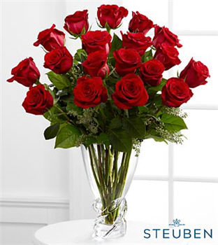 Ravishing Luxury Rose Bouquet - 18 Stems of 20-inch Premium Long-Stemmed Roses in Steuben Glass Vase