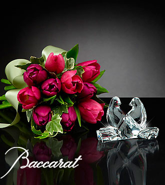 Wings of Love Tulip Bouquet with Baccarat® Crystal Loving Doves - 10 Stems