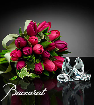 Wings of Love Tulip Bouquet with Baccarat® Crystal Loving Doves - 15 Stems
