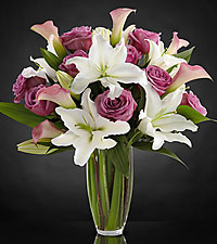 Flowing Luxury Rose & Lily Bouquet - VASE INCLUDED