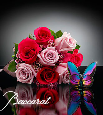 Blooming Insights Bouquet with Baccarat® Blue Scarabee Butterfly - 10 stems