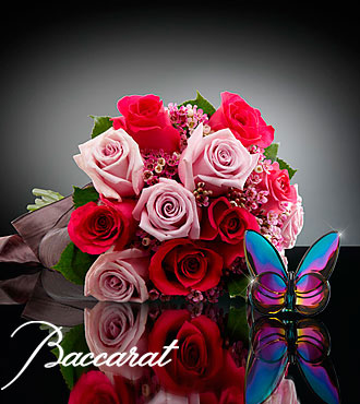 Blooming Insights Bouquet with Baccarat® Blue Scarabee Butterfly - 15 stems