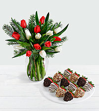 15 Christmas Tulips with Doug Fir with 12 Fancy Strawberries