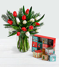 15 Christmas Tulips with Doug Fir with 12 Days of Christmas Cocoa