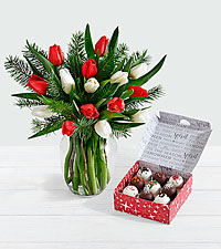 15 Christmas Tulips with Doug Fir with Christmas Cake Truffles
