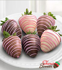 Chocolate Dip Delights™ Classic Real Chocolate Covered Strawberries with Pink Drizzle