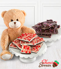 Shari's Berries™ Valentine's Day Chocolate Bark with Valentine' s Day Bear