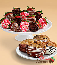 4 Dipped Cookies & Valentine's Strawberries