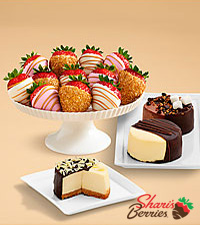 Dipped Cheesecake Trio & Pink Champagne Strawberries