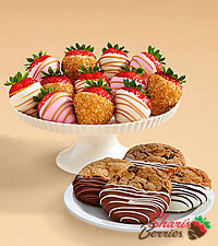 4 Dipped Cookies & Pink Champagne Strawberries