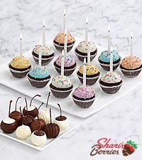 10 Dipped Cherries & Handmade Birthday Brownie Pops