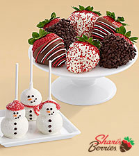3 Snowman Brownie Pops & Christmas Strawberries