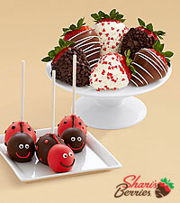 3 Love Bug Brownie Pops & Valentine's Strawberries