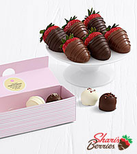4 Mother's Day Cake Truffles & Belgian Chocolate Strawberries