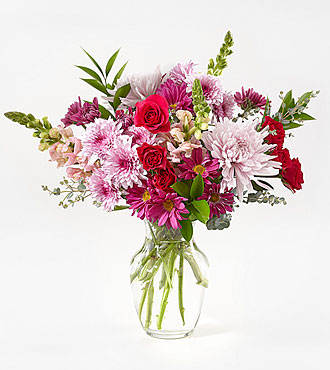 Think Pink Bouquet with Vase