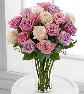 The FTD® Long Stem Pastel Rose Bouquet- Deluxe