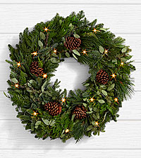 28' Winter Greetings Pine Wreath