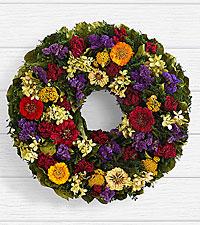 18' Colorful Zinnia Garden Wreath - Preserved