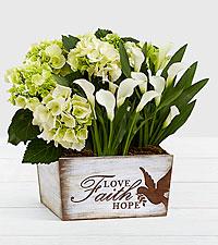 Flowering White Market Garden in Faith, Hope, Love Trug