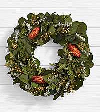 18 in. Eucalyptus and Protea Wreath