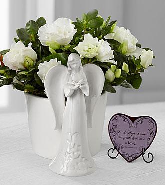 Light the Way Azalea Angel Planter with Faith, Hope, Love Heart