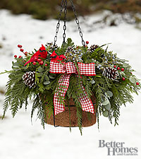 The FTD® Simply Festive Holiday Hanging Basket by Better Homes and Gardens®