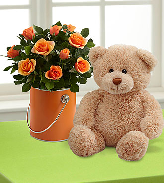 The Color Your Day with Laughter™ Mini Rose Plant by FTD® with Plush Bear