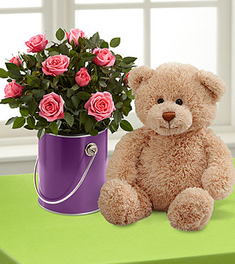 The Color Your Day with Beauty™ Mini Rose Plant by FTD® with Plush Bear