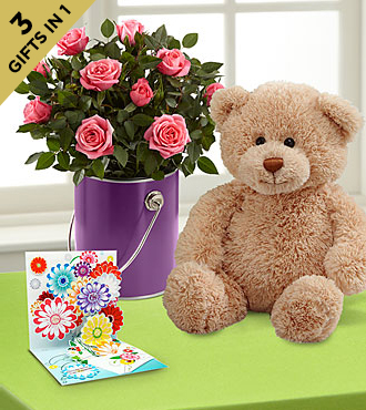 The Color Your Day with Beauty™ Mini Rose Plant by FTD® with Bear and Pop-Up Card