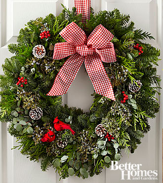 The FTD® Holiday Homecoming Wreath by Better Homes and Gardens®-22 inches in diameter