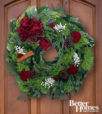 The FTD® Merry Wishes Holiday Wreath by Better Homes and Gardens®