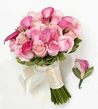 Perfect Pinks Bride Bouquet & Groom Boutonniere